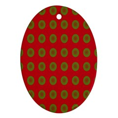 Christmas Paper Wrapping Paper Oval Ornament (Two Sides)