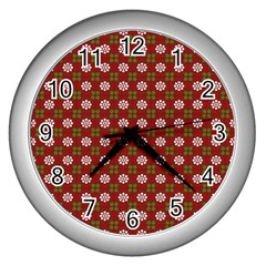 Christmas Paper Wrapping Pattern Wall Clocks (silver)