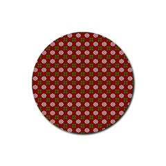 Christmas Paper Wrapping Pattern Rubber Round Coaster (4 Pack)