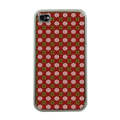 Christmas Paper Wrapping Pattern Apple iPhone 4 Case (Clear)