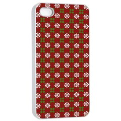 Christmas Paper Wrapping Pattern Apple iPhone 4/4s Seamless Case (White)