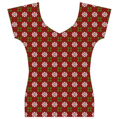 Christmas Paper Wrapping Pattern Women s V-Neck Cap Sleeve Top