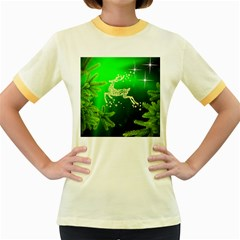 Christmas Reindeer Happy Decoration Women s Fitted Ringer T-Shirts