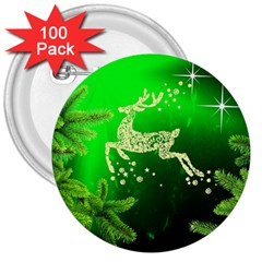 Christmas Reindeer Happy Decoration 3  Buttons (100 pack)