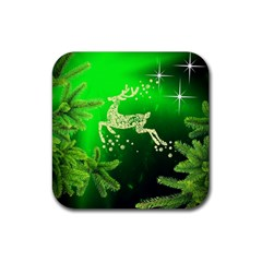 Christmas Reindeer Happy Decoration Rubber Coaster (Square)