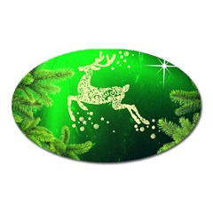 Christmas Reindeer Happy Decoration Oval Magnet