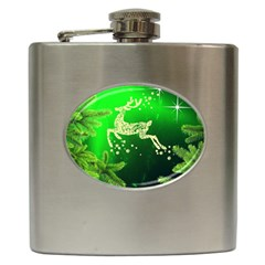 Christmas Reindeer Happy Decoration Hip Flask (6 Oz)