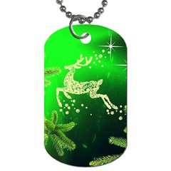 Christmas Reindeer Happy Decoration Dog Tag (Two Sides)