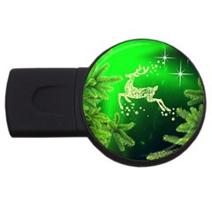 Christmas Reindeer Happy Decoration USB Flash Drive Round (1 GB)