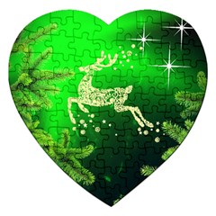 Christmas Reindeer Happy Decoration Jigsaw Puzzle (heart)