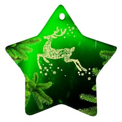 Christmas Reindeer Happy Decoration Star Ornament (Two Sides)