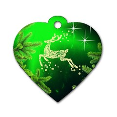 Christmas Reindeer Happy Decoration Dog Tag Heart (two Sides)