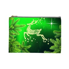 Christmas Reindeer Happy Decoration Cosmetic Bag (Large)