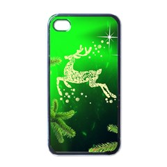 Christmas Reindeer Happy Decoration Apple iPhone 4 Case (Black)