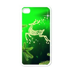 Christmas Reindeer Happy Decoration Apple iPhone 4 Case (White)