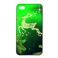 Christmas Reindeer Happy Decoration Apple iPhone 4/4s Seamless Case (Black)