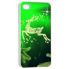 Christmas Reindeer Happy Decoration Apple iPhone 4/4s Seamless Case (White)