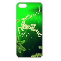 Christmas Reindeer Happy Decoration Apple Seamless Iphone 5 Case (clear)