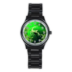 Christmas Reindeer Happy Decoration Stainless Steel Round Watch