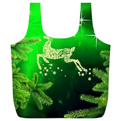 Christmas Reindeer Happy Decoration Full Print Recycle Bags (l)
