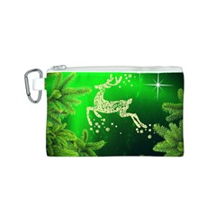Christmas Reindeer Happy Decoration Canvas Cosmetic Bag (S)