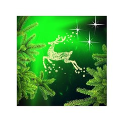 Christmas Reindeer Happy Decoration Small Satin Scarf (Square)