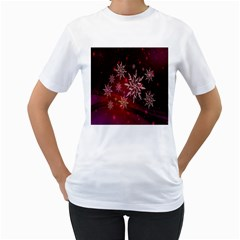 Christmas Snowflake Ice Crystal Women s T-Shirt (White) (Two Sided)