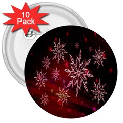 Christmas Snowflake Ice Crystal 3  Buttons (10 Pack)