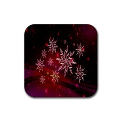 Christmas Snowflake Ice Crystal Rubber Square Coaster (4 pack)