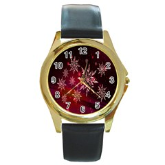 Christmas Snowflake Ice Crystal Round Gold Metal Watch