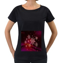 Christmas Snowflake Ice Crystal Women s Loose-Fit T-Shirt (Black)