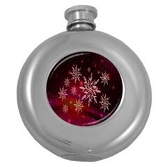 Christmas Snowflake Ice Crystal Round Hip Flask (5 oz)