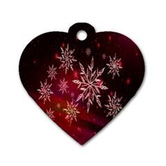 Christmas Snowflake Ice Crystal Dog Tag Heart (one Side)