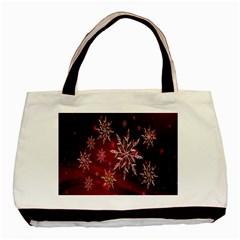 Christmas Snowflake Ice Crystal Basic Tote Bag (two Sides)