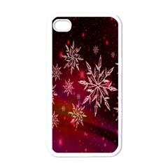 Christmas Snowflake Ice Crystal Apple iPhone 4 Case (White)