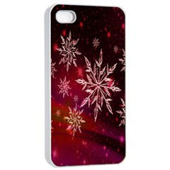 Christmas Snowflake Ice Crystal Apple iPhone 4/4s Seamless Case (White)