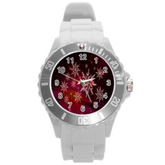 Christmas Snowflake Ice Crystal Round Plastic Sport Watch (l)
