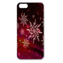Christmas Snowflake Ice Crystal Apple Seamless Iphone 5 Case (clear)