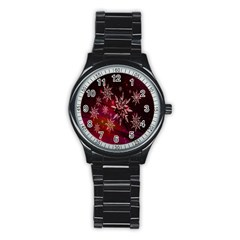 Christmas Snowflake Ice Crystal Stainless Steel Round Watch