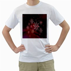 Christmas Snowflake Ice Crystal Men s T-Shirt (White)