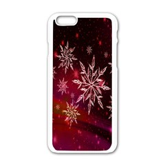 Christmas Snowflake Ice Crystal Apple iPhone 6/6S White Enamel Case