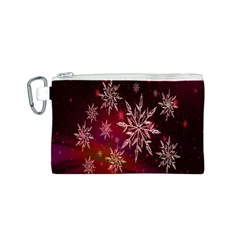 Christmas Snowflake Ice Crystal Canvas Cosmetic Bag (S)