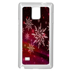 Christmas Snowflake Ice Crystal Samsung Galaxy Note 4 Case (White)