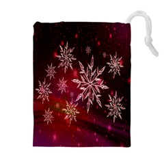 Christmas Snowflake Ice Crystal Drawstring Pouches (Extra Large)