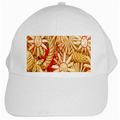 Christmas Straw Xmas Gold White Cap