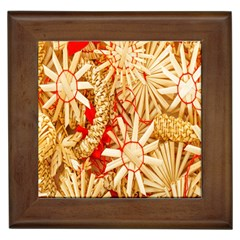 Christmas Straw Xmas Gold Framed Tiles