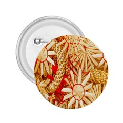 Christmas Straw Xmas Gold 2.25  Buttons