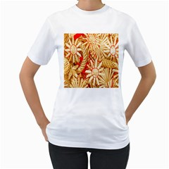 Christmas Straw Xmas Gold Women s T-Shirt (White) (Two Sided)