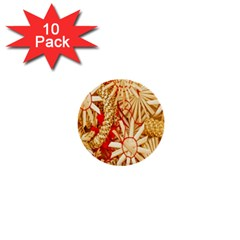 Christmas Straw Xmas Gold 1  Mini Buttons (10 pack)