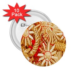 Christmas Straw Xmas Gold 2.25  Buttons (10 pack)